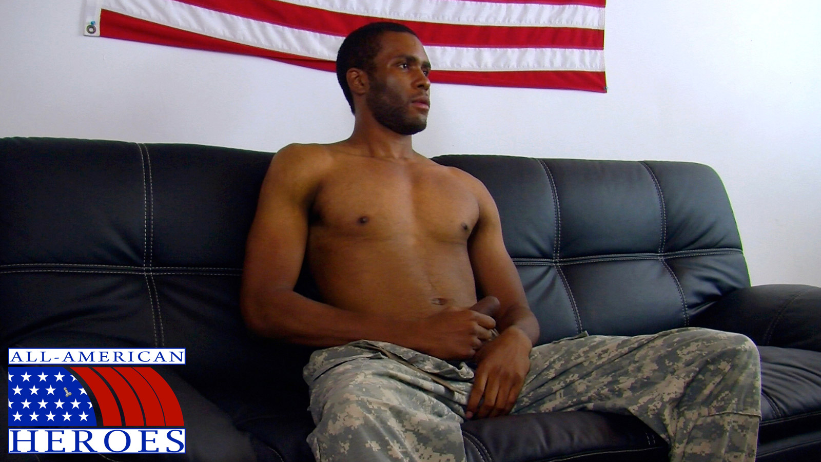 All American Heroes - Black military man Private Robert drops his camos and unloads!